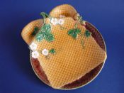 Rare Minton Majolica 'Napkin' Strawberry Serving Dish c1875